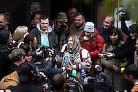 WEISSRUSSLAND, 08.10.2015, Minsk. Swetlana Alexijewitsch, investigative Journalistin und Autoris erhaelt den Literatur- Nobelpreis. Drei Stunden nach der Verkuendung haelt sie eine Pressekonferenz in den Raeumen der Oppositionszeitung Nascha Niwa. | Svetlana Alexievich, investigative journalist and non-fiction prose writer from Belarus is awarded the Nobel Prize in Literature. Three hours after the announcement she holds a press conference in the premises of the oppositional newspaper Nasha Niva. <br /> © SiarheiHudzilin/EST&OST