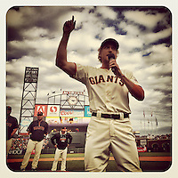 SAN FRANCISCO, CA - SEPTEMBER 28: Instagram of Hunter Pence of the San Francisco Giants making a speech to the fans after a game against the San Diego Padres at AT&T Park on September 28, 2014 in San Francisco, California. Photo by Brad Mangin