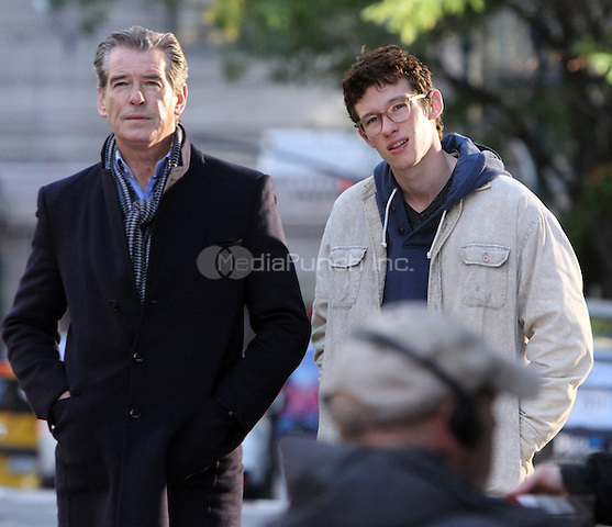 NEW YORK, NY- OCTOBER 26: Pierce Brosnan and Callum Turner on location for the film,  The Only Living Boy in New York City on October 26, 2016. Credit: RW/MediaPunch