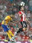 Athletic de Bilbao's Lekue (r) and FC Barcelona's Daniel Alves during Supercup of Spain 1st match.August 14,2015. (ALTERPHOTOS/Acero)