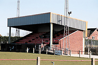 The main stand at Diss Town FC Football Ground, Brewers Green Lane, Diss, Norfolk, pictured on 20th March 1995