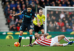 Jesus Navas of Manchester City competes with Marko Arnautovic of Stoke - Football - Barclays Premier League - Stoke City vs Manchester City - Britannia Stadium Stoke - December 5th 2015 - Season 2015/2016 - Photo Malcolm Couzens/Sportimage
