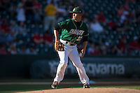 Charlotte 49ers starting pitcher Matt Horkey (22) in action against the North Carolina State Wolfpack at BB&T Ballpark on March 31, 2015 in Charlotte, North Carolina.  The Wolfpack defeated the 49ers 10-6.  (Brian Westerholt/Four Seam Images)