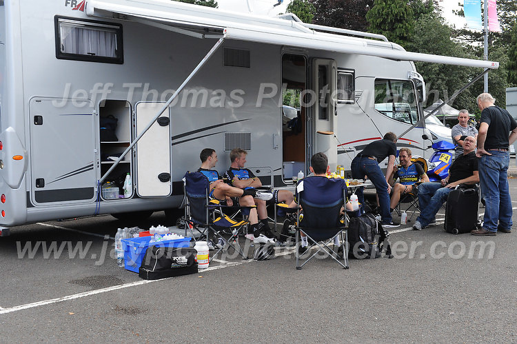 """Competitors of the Metaltek kuota racing team take some time to relax before the race during the Abergavenny Festival of Cycling """"Grand Prix of Wales"""" race on Sunday 17th 2016<br /> <br /> <br /> Jeff Thomas Photography -  www.jaypics.photoshelter.com - <br /> e-mail swansea1001@hotmail.co.uk -<br /> Mob: 07837 386244 -"""