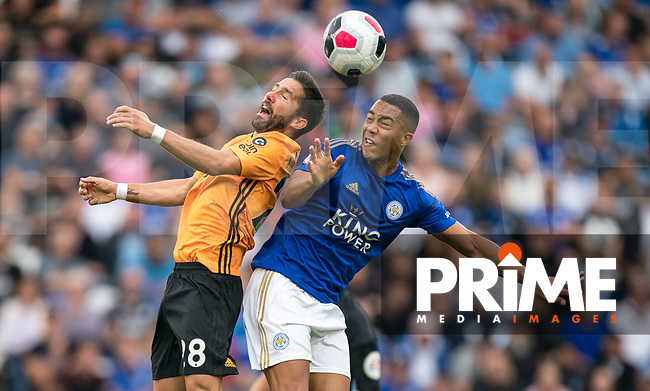 João Moutinho of Wolves & Youri Tielemans of Leicester City during the Premier League match between Leicester City and Wolverhampton Wanderers at the King Power Stadium, Leicester, England on 10 August 2019. Photo by Andy Rowland.