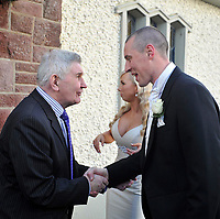 18-1-2013:Mick O'Dwyer congratulates Kerry footballer Kieran Donaghy and Hilary Stephenson pictured after their marriage in St. Finian's Church, Waterville on Friday.<br /> Picture by Don MacMonagle
