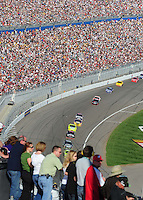 Mar. 1, 2009; Las Vegas, NV, USA; NASCAR Sprint Cup Series drivers race through the tri-oval during the Shelby 427 at Las Vegas Motor Speedway. Mandatory Credit: Mark J. Rebilas-