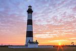 Cape Hatteras National Seashore, North Carolina: Sunrise at Bodie Island lighthouse (1872) on North Carolina's Outer Banks