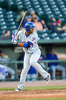 South Bend Cubs designated hitter Eloy Jimenez (27) at bat against the Great Lakes Loons on May 18, 2016 at Dow Diamond in Midland, Michigan. Great Lakes defeated South Bend 5-4. (Andrew Woolley/Four Seam Images)