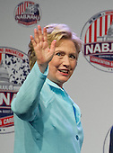 Hillary Clinton, the Democratic Party nominee for President of the United States, waves farewell after making remarks at the 2016 National Association of Black Journalists (NABJ) and National Association of Hispanic Journalists (NAHJ) joint convention at the Washington Marriott Wardman Park Hotel in Washington, DC on Friday, August 5, 2016.  Following her prepared remarks, Secretary Clinton took questions from the moderators and from the audience.<br /> Credit: Ron Sachs / CNP<br /> (RESTRICTION: NO New York or New Jersey Newspapers or newspapers within a 75 mile radius of New York City)