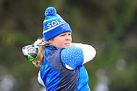 Caroline Hedwall (EUR) on the 2nd tee during Day 3 Singles at the Solheim Cup 2019, Gleneagles Golf CLub, Auchterarder, Perthshire, Scotland. 15/09/2019.<br /> Picture Thos Caffrey / Golffile.ie<br /> <br /> All photo usage must carry mandatory copyright credit (© Golffile | Thos Caffrey)