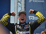 Washington, DC - June 22, 2014: Patrik Sandell celebrates after winning the 3rd Round of the Red Bull Global Rallycross on the grounds of RFK Stadium in the District of Columbia, June 22, 2014.   (Photo by Don Baxter/Media Images International)