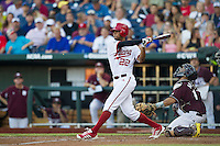 Indiana Hoosiers outfielder Justin Cureton (22) follows through on his swing against the Mississippi State Bulldogs during Game 6 of the 2013 Men's College World Series on June 17, 2013 at TD Ameritrade Park in Omaha, Nebraska. The Bulldogs defeated Hoosiers 5-4. (Andrew Woolley/Four Seam Images)