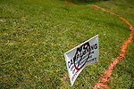May 6, 2008. Bynum, NC.. With the close North Carolina primary battle between Senators Hillary Clinton and Barack Obama, voters hit the polls to try and bring closure to this highly contested state and divide the delegates between the 2 candidates.. A line marks  the limit for campaign workers near a polling station.
