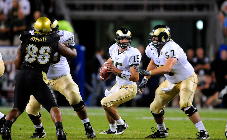 31 Aug 2008: Colorado State quarterback Billy Farris looks to pass against Colorado. The Colorado Buffaloes defeated the Colorado State Rams 38-17 at Invesco Field at Mile High in Denver, Colorado. FOR EDITORIAL USE ONLY