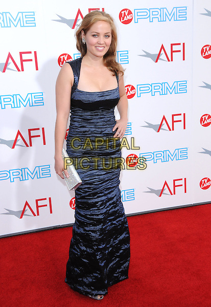 ERIKA CHRISTENSEN.The 37th AFI Life Achievement Award held at Sony Picture Studios  in Culver City, California, USA..June 11th, 2009.full length blue wrinkled crushed dress silver clutch bag hand on hip.CAP/DVS.©Debbie VanStory/Capital Pictures.
