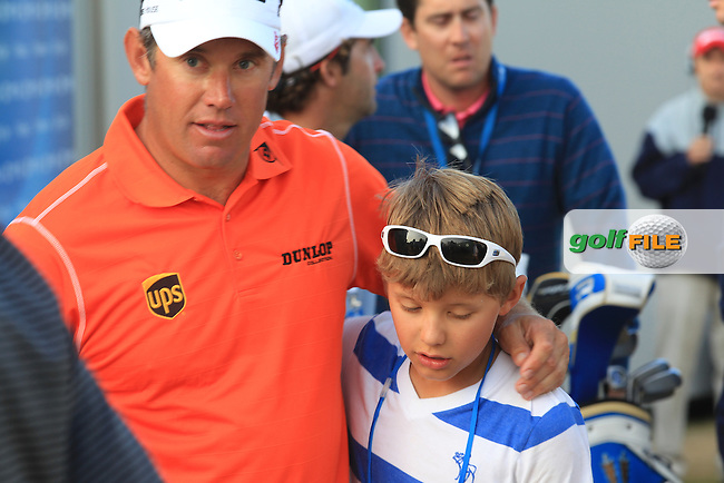 Lee WESTWOOD (ENG) with his son Sam after  round 3 of  The 142th Open Championship Muirfield, Gullane, East Lothian, Scotland 20/7/2013<br /> Picture Eoin Clarke www.golffile.ie:
