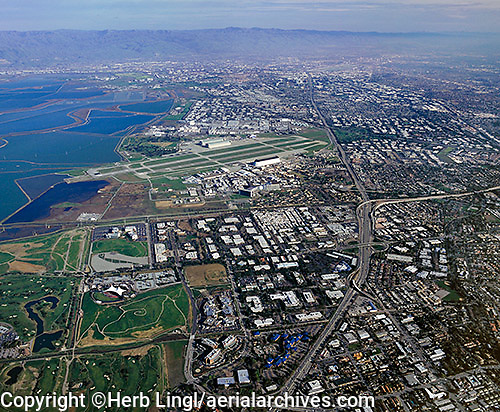 high overview aerial photograph Mountain View, Santa Clara county, California