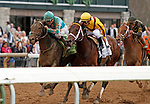 LEXINGTON, KY - April 14, 2018. #12 My Boy Jack and jockey Kent Desormeaux (outside light blue cap) win the 37th running of The Stonestreet Lexington Grade 3 $200,000 for owner Don't Tell My Wife Stables and Monomoy Stables and trainer Keith Desormeaux at Keeneland Race Course.  Lexington, Kentucky. (Photo by Candice Chavez/Eclipse Sportswire/Getty Images)