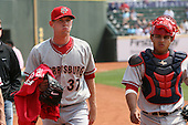 April 11, 2010:  First overall draft pick of the 2009 MLB Draft Stephen Strasburg (37) walks in from the bullpen with catcher Jhonatan Solano before making his professional debut with the Harrisburg Senators, Double-A affiliate of the Washington Nationals, in a game vs. the Altoona Curve, affiliate of the Pittsburgh Pirates, at Blair County Ballpark in Altoona, PA.  Photo By Mike Janes/Four Seam Images