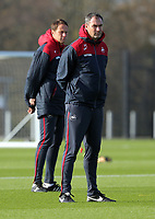 (L-R) Club doctor Jez McCluskey and manager Paul Clement stand on the pitch during the Swansea City Training at The Fairwood Training Ground, Swansea, Wales, UK. Wednesday 01 November 2017