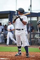 GCL Yankees East first baseman Nelson Alvarez (59) at bat during the first game of a doubleheader against the GCL Yankees West on July 19, 2017 at the Yankees Minor League Complex in Tampa, Florida.  GCL Yankees West defeated the GCL Yankees East 11-2.  (Mike Janes/Four Seam Images)