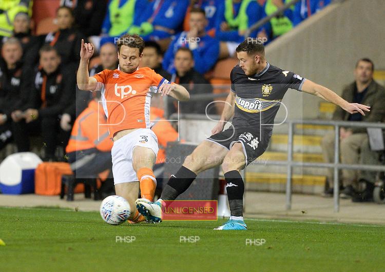 17/10/2017 Sky Bet League 1 Blackpool v Bury<br /> <br /> Andy Taylor tackles Harry Bunn