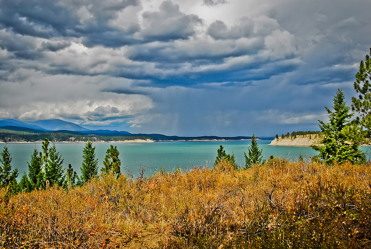 Summer storm clouds gather over Lake Koocanusa in Northwestern Montana