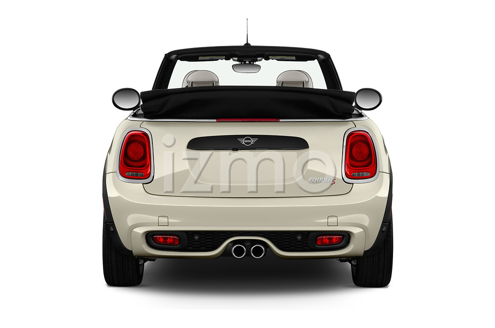Straight rear view of a 2019 Mini Cooper S Signature 2 Door Convertible stock images