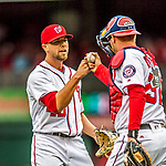 3 April 2017: Washington Nationals pitcher Blake Treinen celebrates pitching a perfect inning and his first save of the season against the Miami Marlins on Opening Day at Nationals Park in Washington, DC. The Nationals defeated the Marlins 4-2 to open the 2017 MLB Season. Mandatory Credit: Ed Wolfstein Photo *** RAW (NEF) Image File Available ***