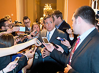 United States Senator Ted Cruz (Republican of Texas) speaks to reporters in the US Capitol after the release of the newest GOP version of the bill to repeal and replace Obamacare in the US Capitol in Washington, DC on Thursday, July 13, 2017.  Senator Cruz' amendment to allow insurance companies to sell low cost policies that are not compliant with the Obamacare mandates is part of the latest version of the bill.<br /> Credit: Ron Sachs / CNP /MediaPunch