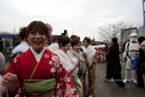 "Jan. 11, 2009 - Japanese twenty year olds dressed in traditional kimonos attend the annual ""Coming of Age Day ceremony at C.C. Lemon Hall in Shibuya. In Japan, men and women who have reached the age of 20 are eligible to vote, drink alcohol and smoke."