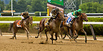 ELMONT, NY - JUNE 09: #6, Still Having Fun, ridden by Joel Rosario and #3 Engage, ridden by Jose L. Ortiz battle in the stretch run of the Woody Stephens Stakes on Belmont Stakes Day at Belmont Park on June 9, 2018 in Elmont, New York. (Photo by Sue Kawczynski/Eclipse Sportswire/Getty Images)