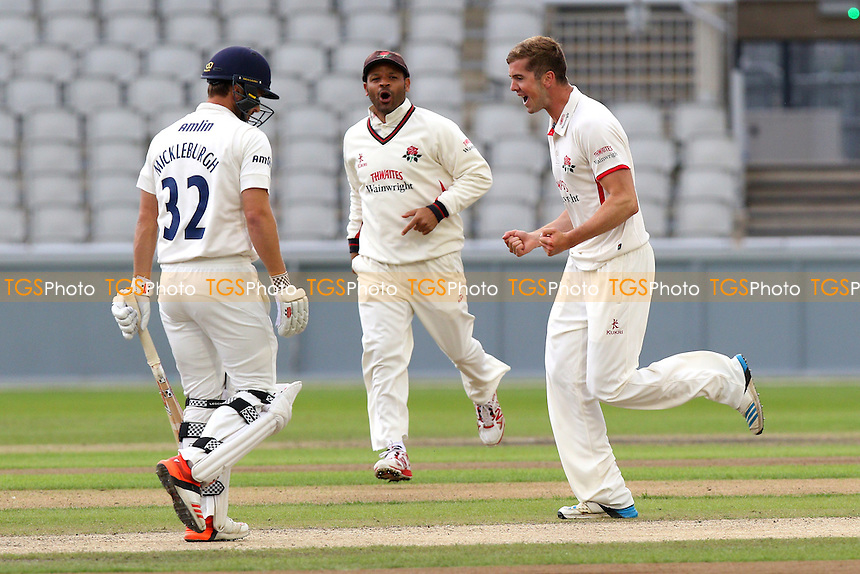 Toby Lester (R) of Lancashire celebrates taking the wicket of Jaik Mickleburgh (L) - Lancashire CCC vs Essex CCC - LV County Championship Division Two Cricket at Emirates Old Trafford, Manchester - 08/07/15 - MANDATORY CREDIT: Gavin Ellis/TGSPHOTO