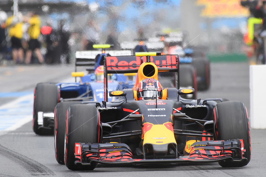 March 19, 2016: Daniil Kvyat (RUS) #26 from the Red Bull Racing team leaving the pits for qualifying at the 2016 Australian Formula One Grand Prix at Albert Park, Melbourne, Australia. Photo Sydney Low