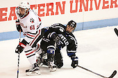 Jarrett Fennell (NU - 61), Cody DePourcq (Bentley - 25) - The visiting Bentley University Falcons defeated the Northeastern University Huskies 3-2 on Friday, October 16, 2015, at Matthews Arena in Boston, Massachusetts.