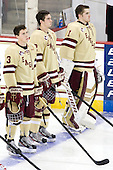 Patch Alber (BC - 3), Colin Sullivan (BC - 2), Brian Billett (BC - 1) - The Boston College Eagles defeated the visiting Northeastern University Huskies 3-0 after a banner-raising ceremony for BC's 2012 national championship on Saturday, October 20, 2012, at Kelley Rink in Conte Forum in Chestnut Hill, Massachusetts.