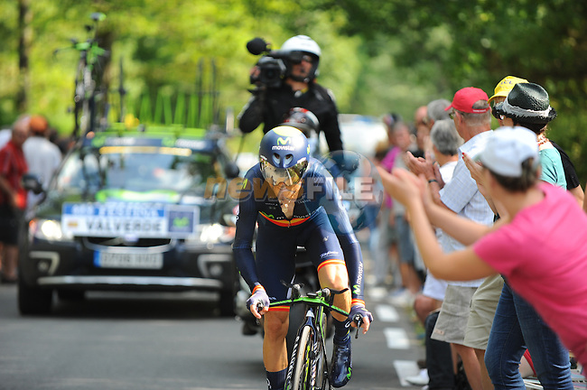 Alejandro Valverde (ESP) Movistar Team in action during Stage 20 Individual Time Trial of the 2014 Tour de France running 54km from Bergerac to Perigueux. 25th July 2014.<br /> Photo ASO/G.Demouveaux/www.newsfile.ie