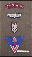 BNPS.co.uk (01202 558833)Pic: C&amp;TAuctions/BNPS<br /> <br /> The badges Lieutenant James Riccomini MBE recieved during his time as an SAS hero. They include a Free French arm badge and a 2nd SAS shoulder flash. <br /> <br /> The remarkable story of an SAS hero who escaped captivity by jumping out of a moving train and carried out daring raids behind enemy lines before he was killed storming a German stronghold can be told after his bravery medals emerged for sale.<br /> <br /> After escaping his German captors, Lieutenant James Riccomini MBE spent four months assisting Italian resistance fighters with ammunition drops and intelligence gathering before scaling the Alps to reach neutral Switzerland when his cover was blown.<br /> <br /> Ten months later, he was dropped behind enemy lines and led a fearless ambush of a German armoured column before he was killed in action heading up an assault during the legendary Operation Tombola.<br /> <br /> His MBE, Military Cross and other medals along with letters he wrote to his wife, documents and photos are tipped to sell for &pound;12,000.