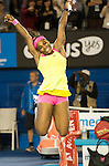 Serena Williams (USA) celebrates her 6-3, 7-6 victory over Maria Sharapova (RUS in the finals, at the Australian Open being played at Melbourne Park in Melbourne, Australia on January 31, 2015