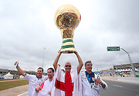 England fans with a huge World Cup trophy outside Arena Corinthians