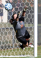 Maryland goalie Rachelle Beanlands (33) misses an opportunity during the first round of the ACC Tournament against Virginia Sunday at Klockner Stadium.  Virginia defeated Maryland 6-1. Photo/The Daily Progress/Andrew Shurtleff