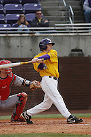 East Carolina University Pirates infielder Bryan Bass #4 at bat during a game against the Stony Brook Seawolves  at Clark-LeClair Stadium on March 4, 2012 in Greenville, NC.  East Carolina defeated Stony Brook 4-3. (Robert Gurganus/Four Seam Images)