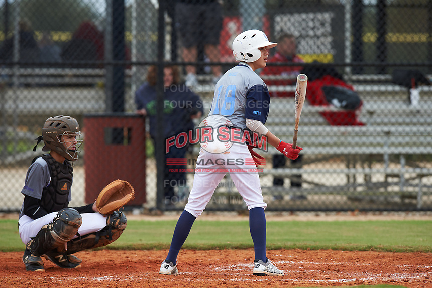 Derek Hernandez (18) of Corpus Christi, Texas during the Baseball Factory All-America Pre-Season Rookie Tournament, powered by Under Armour, on January 13, 2018 at Lake Myrtle Sports Complex in Auburndale, Florida.  (Michael Johnson/Four Seam Images)