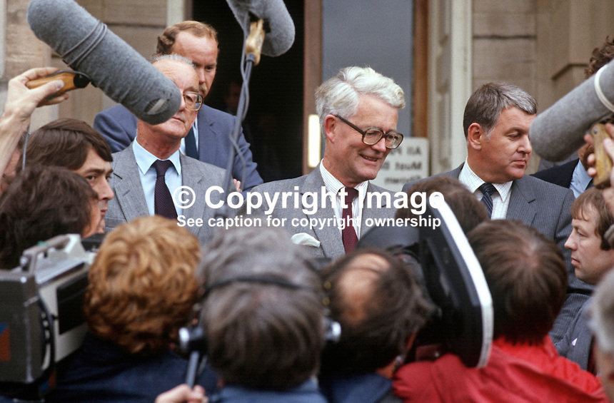 Douglas Hurd, newly appointed Secretary of State for N Ireland, photographed on the occasion of his first Press Conference on the steps of Stormont Castle, Belfast, N Ireland, 27th September 1984, 19840111DH3.<br /> <br /> Copyright Image from Victor Patterson, 54 Dorchester Park, Belfast, UK, BT9 6RJ<br /> <br /> t1: +44 28 9066 1296 (from Rep of Ireland 048 9066 1296)<br /> t2: +44 28 9002 2446 (from Rep of Ireland 048 9002 2446)<br /> m: +44 7802 353836<br /> <br /> e1: victorpatterson@me.com<br /> e2: victorpatterson@gmail.com<br /> <br /> The use of my copyright images is subject to my Terms &amp; Conditions.<br /> <br /> It is IMPORTANT that you familiarise yourself with them. They are available on my website at www.victorpatterson.com.<br /> <br /> None of my copyright images may be used on a website unless they are visibly watermarked, i.e. &copy; Victor Patterson within the body of the visible image. Metadata denoting my copyright must NOT be deleted. <br /> <br /> Web use is extra at currently recommended NUJ rates.