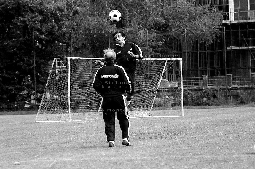 Turin 1985.Michel Platini during a workout whith the Giovanni Trapattoni coach Juventus F.C
