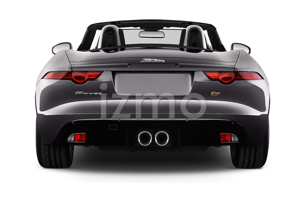 Straight rear view of 2016 Jaguar F Type S 2 Door Convertible Rear View  stock images