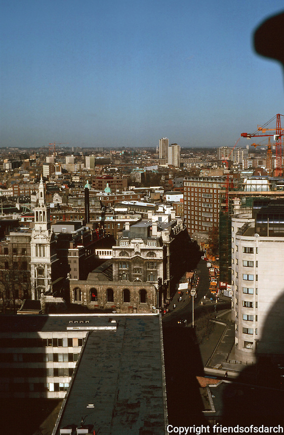 London:  12.  Panoramic view from St. Paul's--North.  Lower left, tower of Christ Church, 1677-87.  Photo '90.