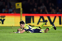 Sam James of Sale Sharks scores a second half try. Aviva Premiership match, between Harlequins and Sale Sharks on October 6, 2017 at the Twickenham Stoop in London, England. Photo by: Patrick Khachfe / JMP