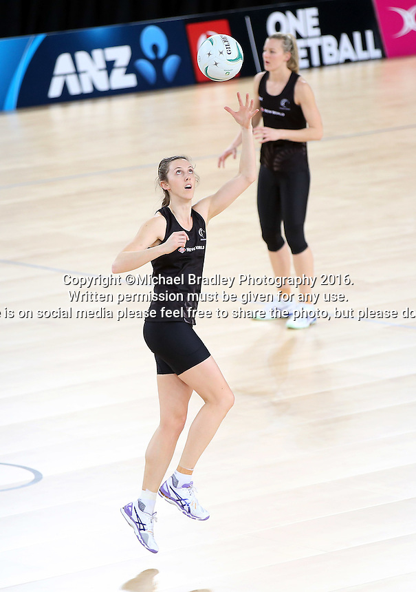 02.09.2016 Silver Ferns Bailey Mes as the Silver Ferns have a walk though during training in Melbourne Australia ahead of their match against Australia. Mandatory Photo Credit ©Michael Bradley.